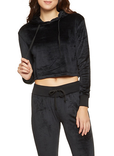 Velour Cropped Sweatshirt,BLACK,large