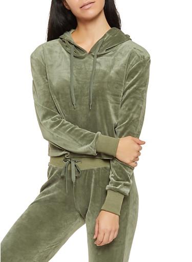 Velour Cropped Sweatshirt,OLIVE,large