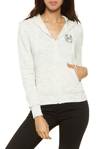 Embroidered Love Graphic Sweatshirt,OATMEAL,large