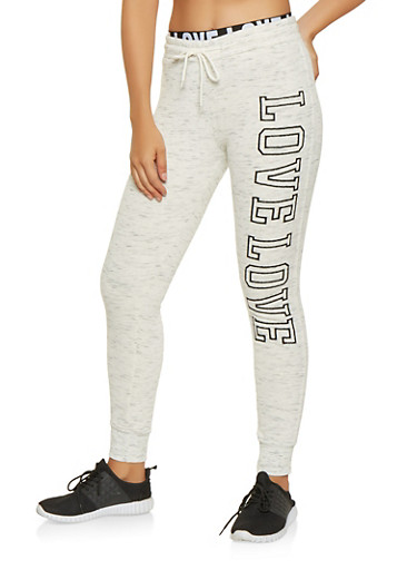 Marled Love Graphic Sweatpants,OATMEAL,large