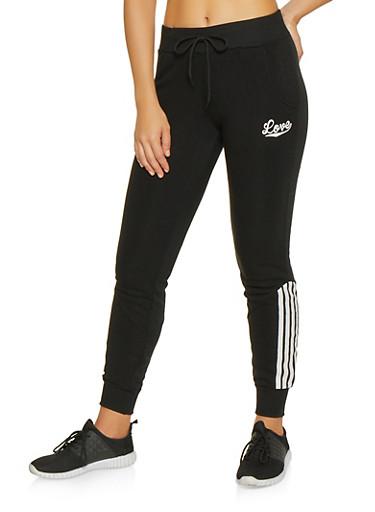 Striped Detail Sweatpants,BLACK,large