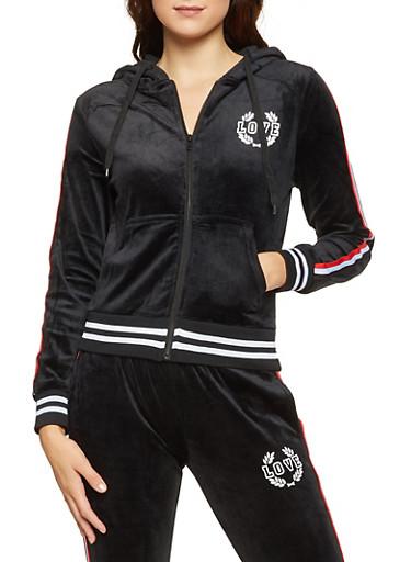 Love Graphic Velour Sweatshirt,BLACK,large