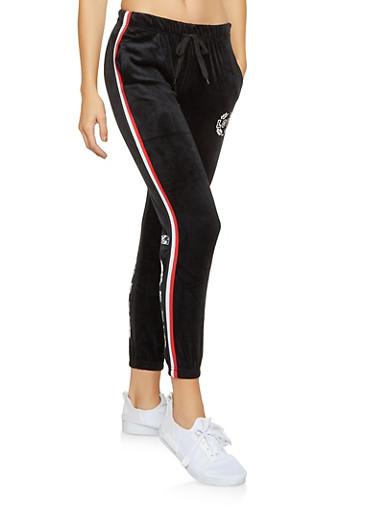 Love Graphic Velour Sweatpants,BLACK,large