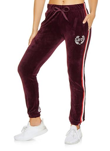 Love Graphic Velour Sweatpants,WINE,large