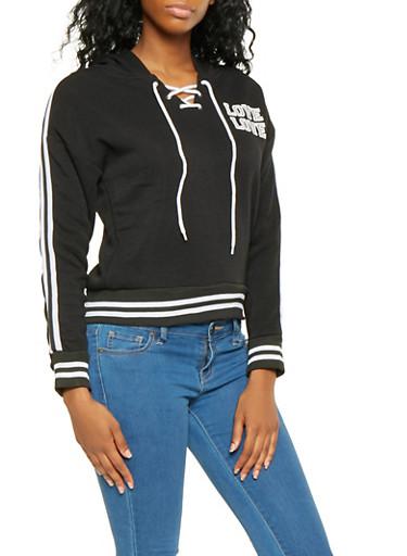 Lace Up Love Graphic Sweatshirt,BLACK,large