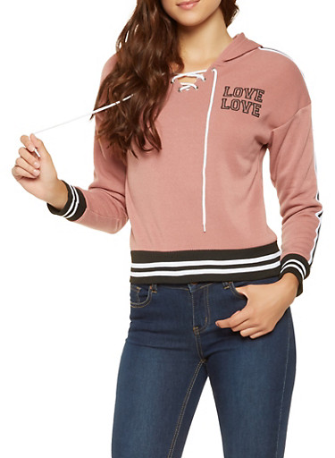 Lace Up Love Graphic Sweatshirt,MAUVE,large