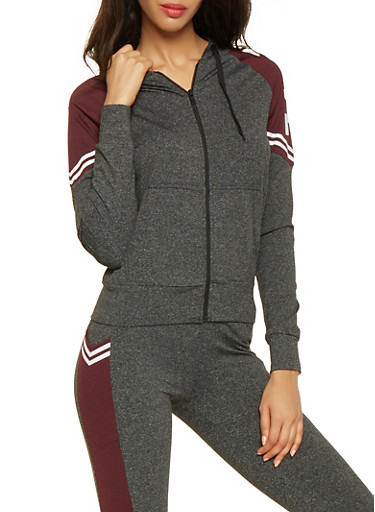 Love Graphic Zip Up Sweatshirt,BLACK,large
