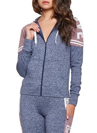Love Graphic Zip Up Sweatshirt,NAVY,large