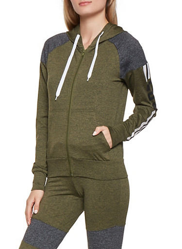 Love Graphic Color Block Hoodie,OLIVE,large