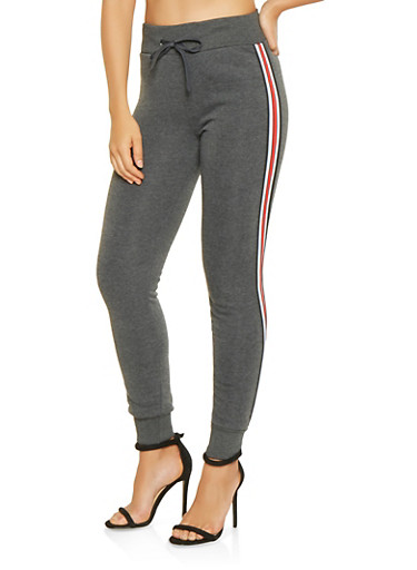 Striped Tape Trim Sweatpants,CHARCOAL,large