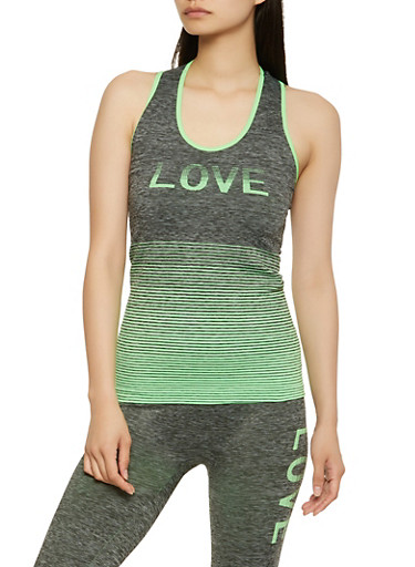 Love Graphic Activewear Tank Top,GREEN,large