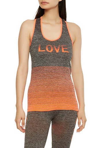 Love Graphic Activewear Tank Top,ORANGE,large