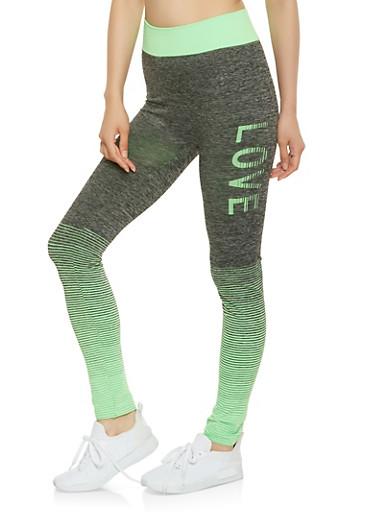 Love Graphic Activewear Leggings,GREEN,large