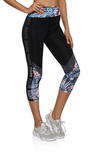 Color Block Foil Love Active Leggings,BLK PTN,large