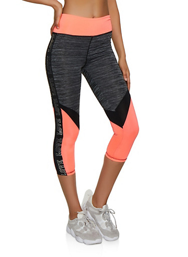 Color Block Foil Love Active Leggings,CORAL,large