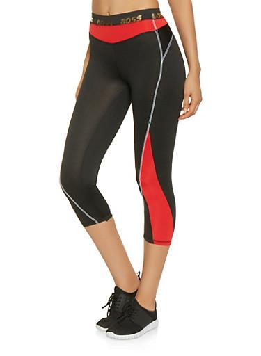 Boss Graphic Activewear Capri Leggings,RED,large