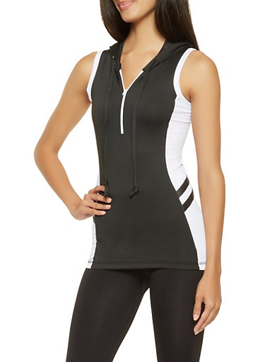 Half Zip Hooded Active Top,BLACK/WHITE,large