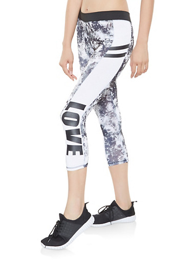 Love Graphic Active Capri Leggings,BLACK/WHITE,large
