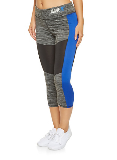 Color Block Active Capri Leggings,BLUE,large