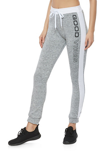 Good Vibes Graphic Joggers,WHITE,large
