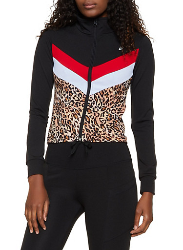 Chevron Color Block Track Jacket,RED,large