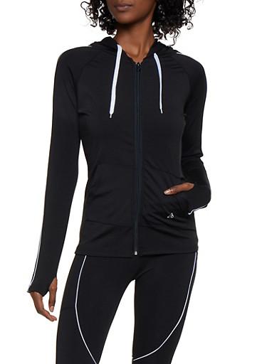 Hooded Active Sweatshirt,BLACK/WHITE,large