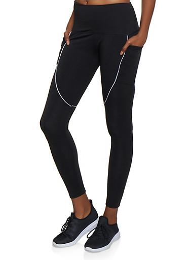 Active Two Pocket Leggings,BLACK/WHITE,large