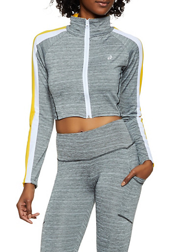 Cropped Track Jacket,GRAY,large