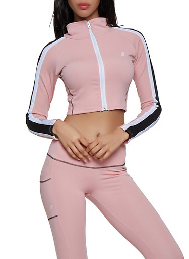 Cropped Track Jacket,ROSE,large
