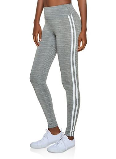 Varsity Stripe Active Leggings,GRAY,large