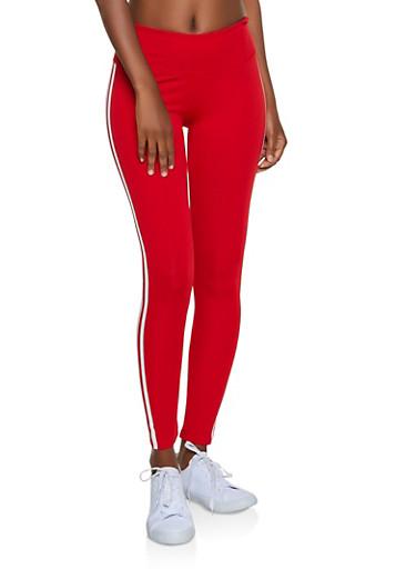 Varsity Stripe Active Leggings,RED,large