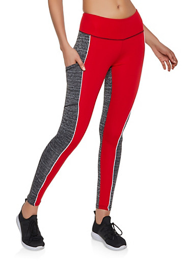 Color Block Active Leggings | 3058038346091,RED,large
