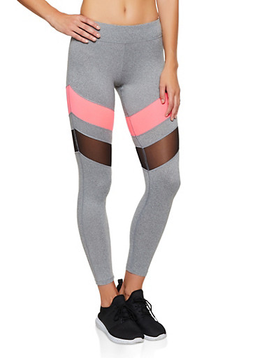 Color Block Mesh Insert Leggings,NEON PINK,large