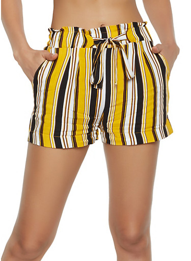 Tie Paper Bag Waist Lightweight Striped Shorts,BLACK,large