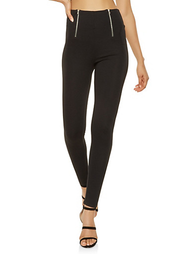 High Waisted Zipper Detail Ponte Pants,BLACK,large