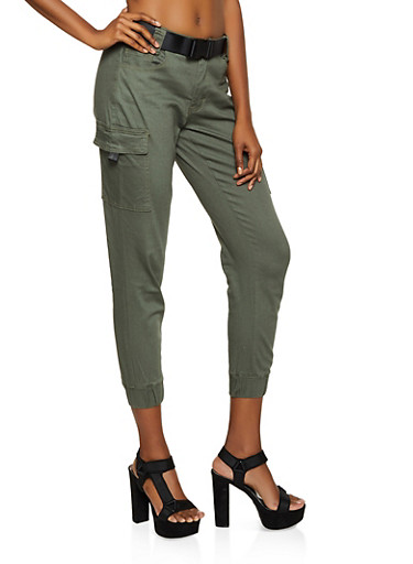 Buckle Twill Cargo Pants,OLIVE,large