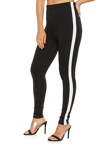 Contrast Trim Ponte Knit Pants,BLACK,large