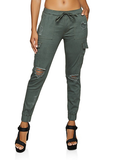 Distressed Twill Cargo Joggers,OLIVE,large