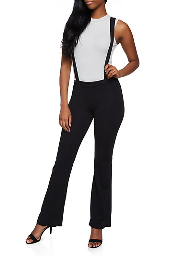 Solid Suspender Pants | 3061020622877,BLACK,large