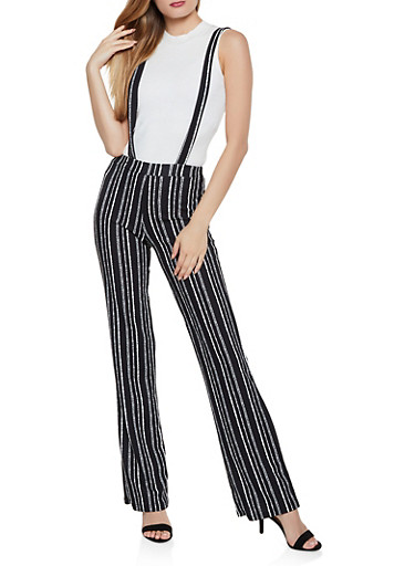Flared Striped Suspender Pants,BLACK,large