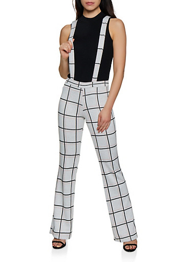 Plaid Knit Suspender Pants,IVORY,large