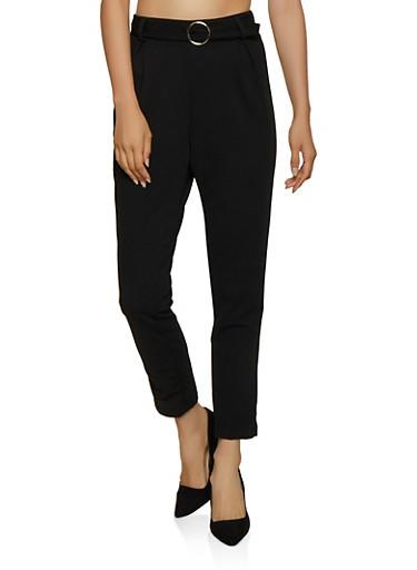 O Ring Belted Dress Pants,BLACK,large