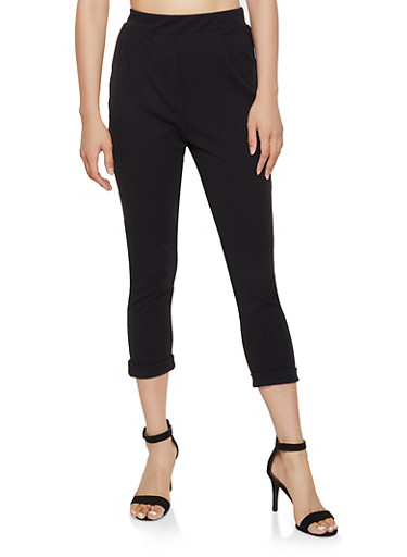 Crepe Knit Fixed Cuff Pants,BLACK,large