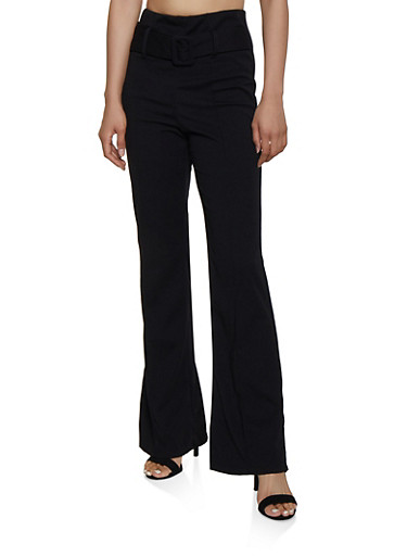 Belted Waist Pintuck Palazzo Pants,BLACK,large
