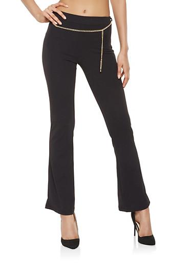 Flared Crepe Knit Dress Pants,BLACK,large