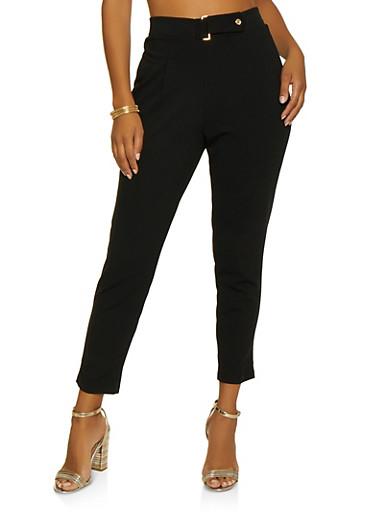 Tabbed Waist Crepe Knit Dress Pants,BLACK,large