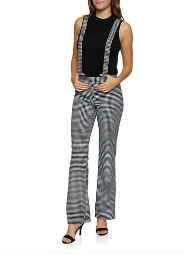 Houndstooth Suspender Pants,BLACK/WHITE,large
