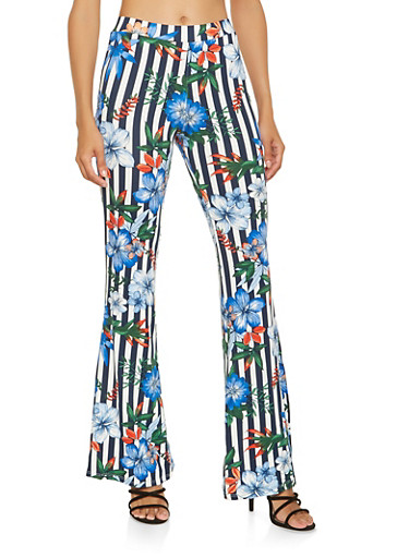 Striped Floral Flared Pants,NAVY,large