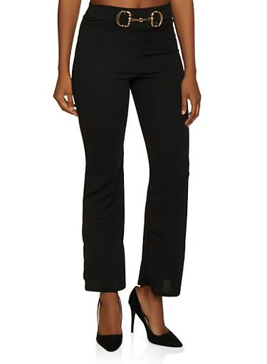 Link Buckle Detail Dress Pants,BLACK,large