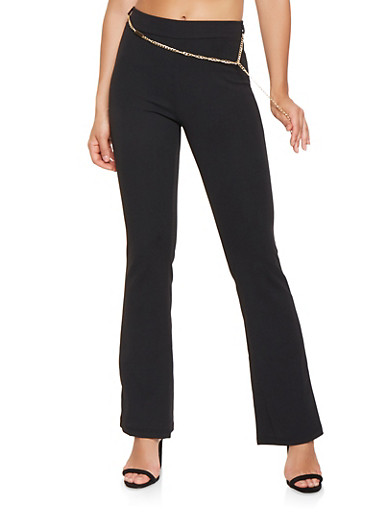Crepe Knit Flared Pants,BLACK,large
